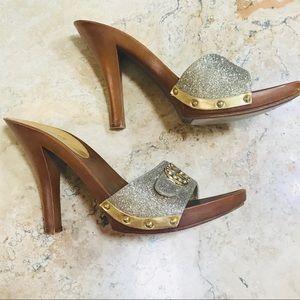 Guess Gold Glitter Sandal Heel 10